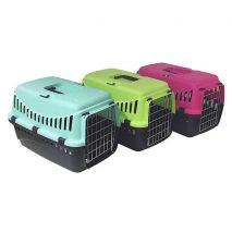 Πλαστικό κουτί μεταφοράς με μεταλλικη πόρτα για μικρό σκύλο ή γάτα.